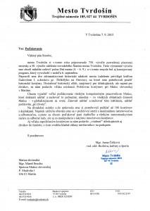 Ďakovný list primátora
