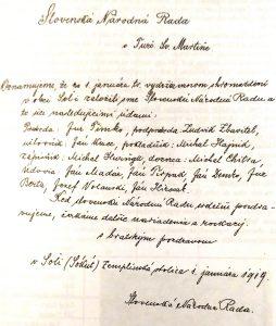 Historická listina výboru Slovenskej národnej rady v Soli