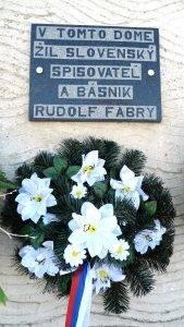 Pamätná tabuľa na rodnom dome R. Fabryho