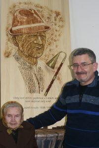 H. Klevecová, dcéra gajdoša J. Antalíka s prof. B. Garajom