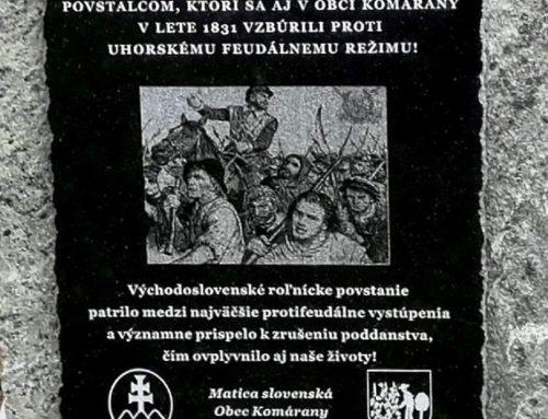 Matičiari asamospráva odhalili pamätnú tabuľu vKomáranoch, pripomína protifeudálne roľnícke povstanie