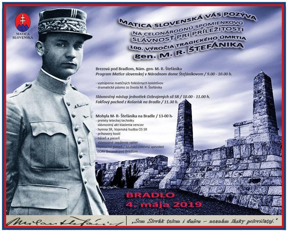 100. výročie tragickej smrti generála M. R. Štefánika pripomenie na Bradle aj Matica slovenská