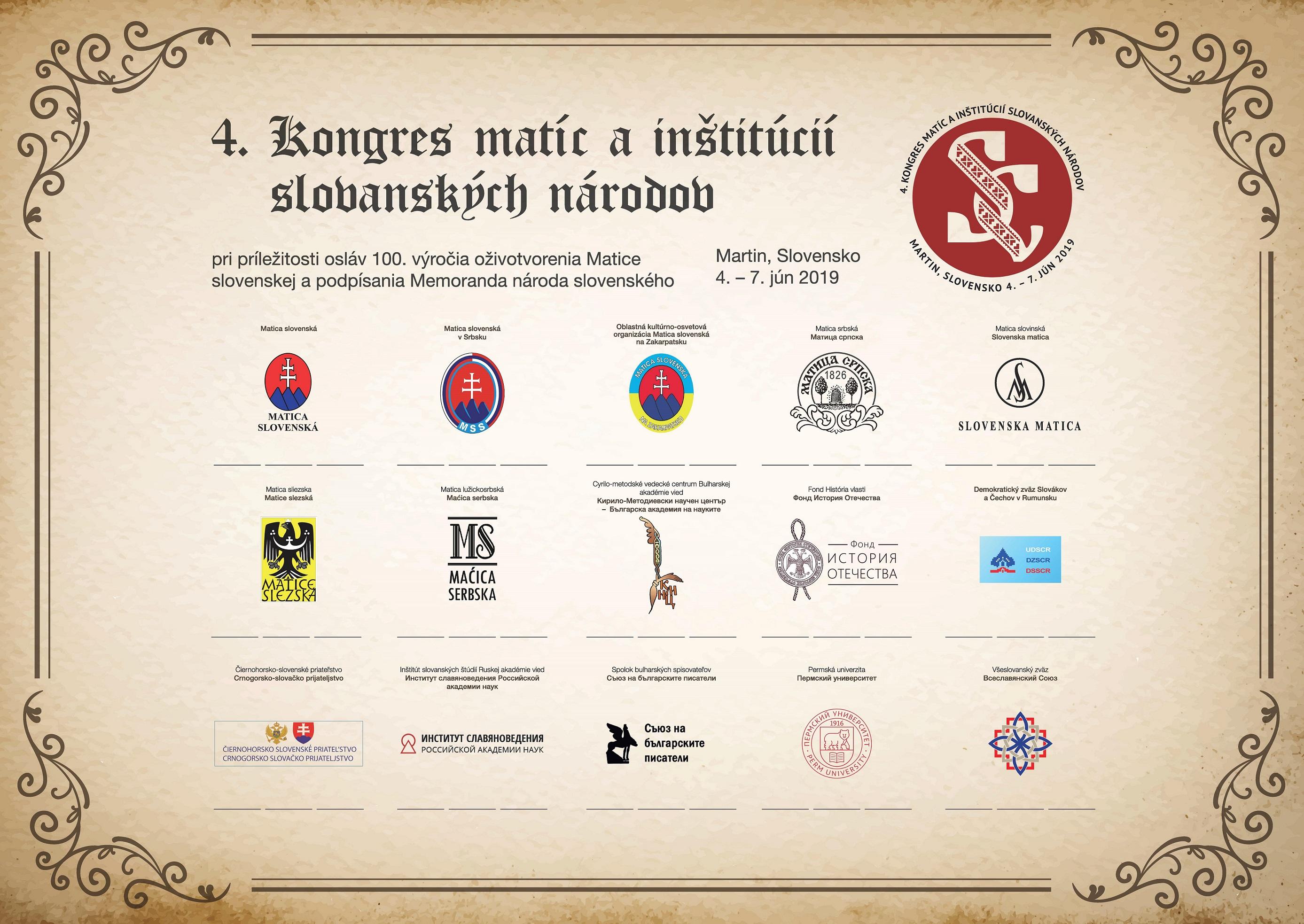 Záverečné komuniké 4. Kongresu matíc ainštitúcií slovanských národov