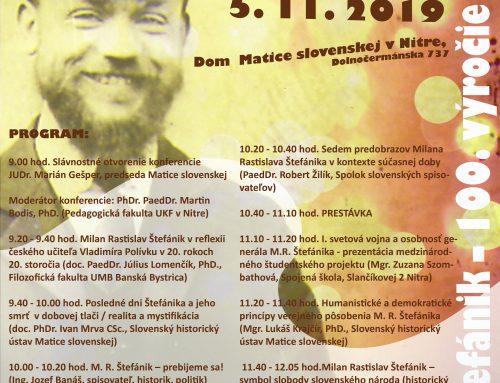 Matičná odborná konferencia M. R. Štefánik – 100. výročie úmrtia sa zameria na pedagógov