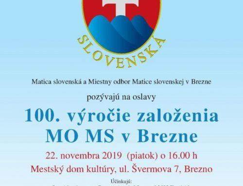 Oslávili sme storočnicu vzniku Miestneho odboru MS v Brezne