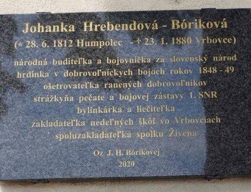 Odhalenie novej pamätnej tabule Johanke Hrebendovej  Bórikovej vo Vrbovciach