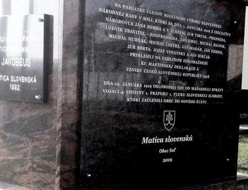 Matičiari si v Soli pripomenuli založenie miestneho výboru Slovenskej národnej rady 1919 a oslobodenie obce sovietskou armádou 1945