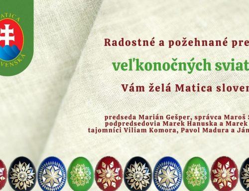 Matica slovenská vám želá požehnané prežitie veľkonočných sviatkov