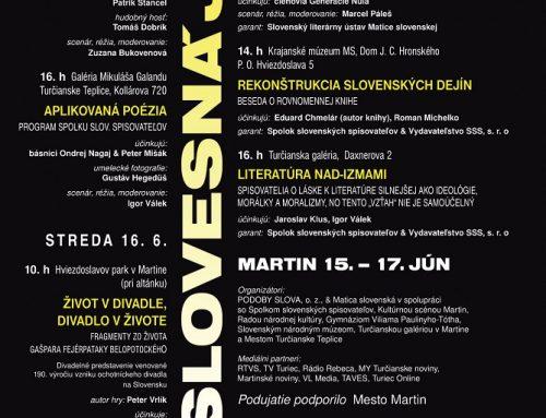 Začal sa 55. ročník multižánrového, literárneho festivalu Slovesná jar v Martine
